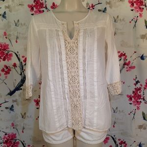 Chico's Sheer V-Neck Tunic Size 1 (M/8)